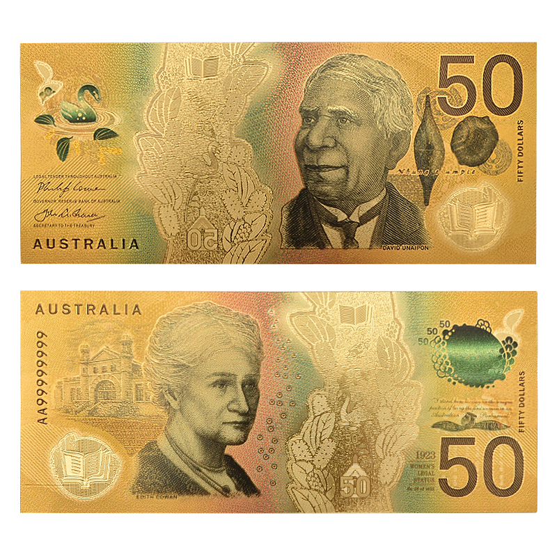 WR <font><b>5</b></font>,10,20,50,100,Australian <font><b>Dollar</b></font> Fake Money Gold Banknote Paper Money <font><b>Bill</b></font> Bank Note for Original Gifts Dropshipping image