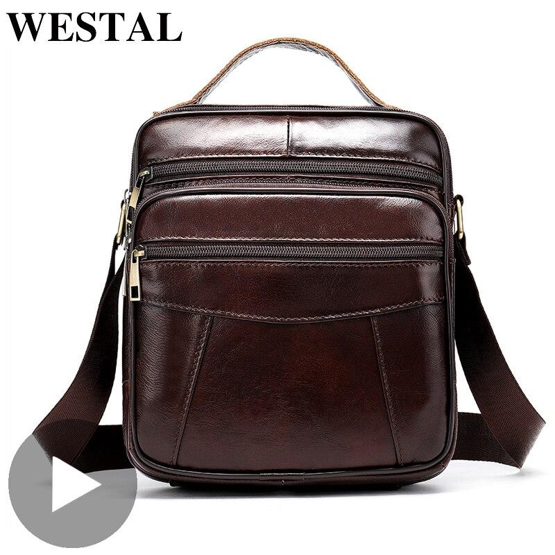 Westal Portable Shoulder Messenger Women Men Bag Genuine Leather Briefcase Office Business Work For Small Handbag Male Female