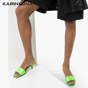 Karinluna New Arrival Small Heels Stain Office Lady Women Shoes Sandals Mules Pumps