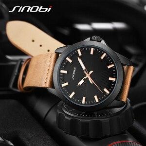 Image 3 - Новые мужские часы SINOBI 2020, простые спортивные военные часы, мужские роскошные брендовые модные повседневные коричневые кожаные кварцевые наручные часы