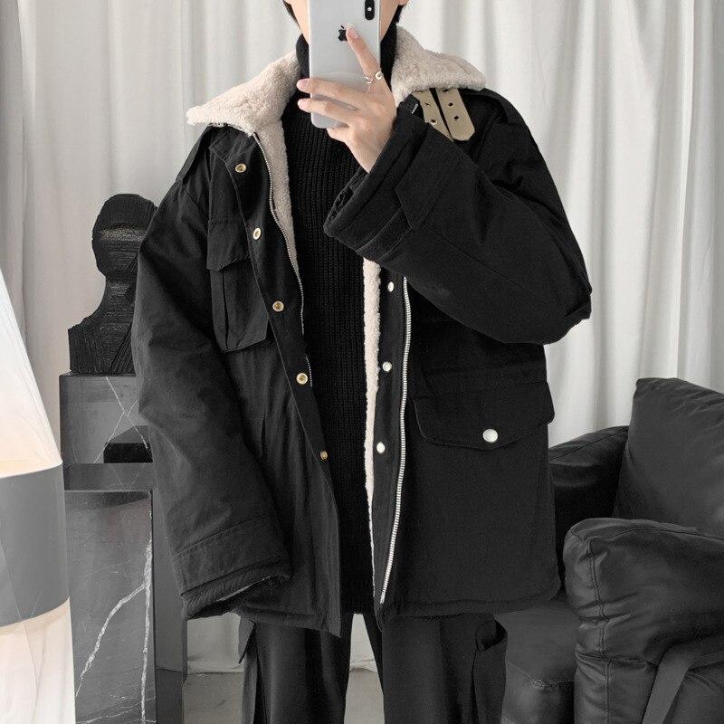 Зимняя новая утолщенная куртка из овечьей шерсти, Мужская теплая модная куртка с отворотом, Мужская Уличная свободная хлопковая куртка с несколькими карманами - 3