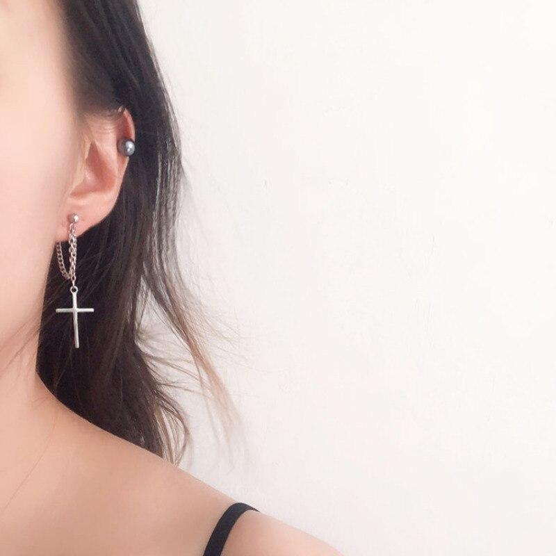 Japan and South Korea Harajuku Cool E-girl Girl Cross Chain Pendant Earrings For Women Men Bff Street Hip Hop Jewelry