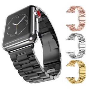 Для Apple Watch Series 5 4 3 2 ремешок 42 мм 40 мм 44 мм черный браслет из нержавеющей стали адаптер для iWatch Band 4 3 38 мм