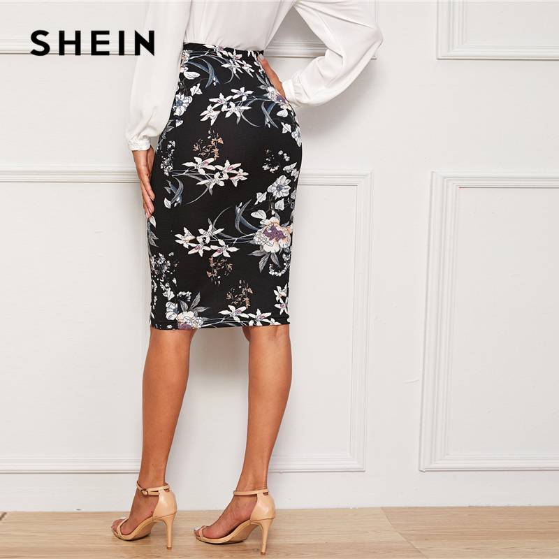 SHEIN Plants And Floral Print Elegant Pencil Skirt Women Autumn High Waist Office Ladies Slim Fitted Knee Length Skirts 2