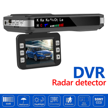 2 in 1 Car DVR Camera Dash Cam Detector Speed Voice Alert Alarming System English Russian Voice Radar Detector X K CT La image