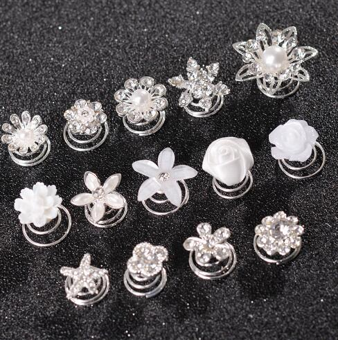 12Pcs Bridal Wedding Swirl Spiral Coils Hair Pins Prom Crystal Flower Pearl
