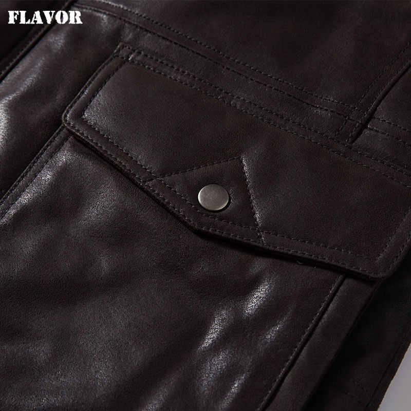 風味男性の本物の革のジャケット豚皮男性冬暖かい取り外し可能フード毛皮の襟