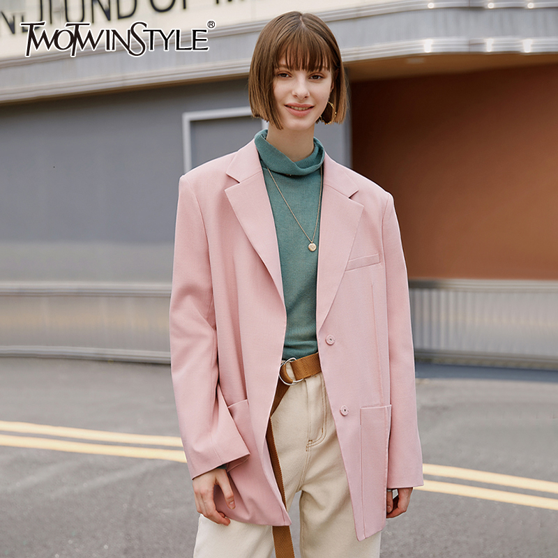 TWOTWINSTYLE Asymmetrical Autumn Blazers For Female Notched Long Sleeve Casual Loose Women's Suits Fashion Clothing 2019 Tide