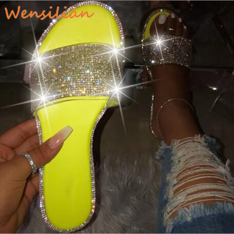 Women Slides Summer 2020 Ladies Home Flip Flops Female House Crystal Glitter Slippers Indoor Flat Shoes Chanclas Mujer Plus Size