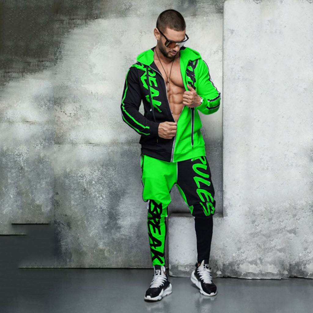 2 Piece Set New 2020 Men's Tracksuit Hooded Monogram Color Personalized Hip Hop Zipper Cardigan Men's Tracksuit