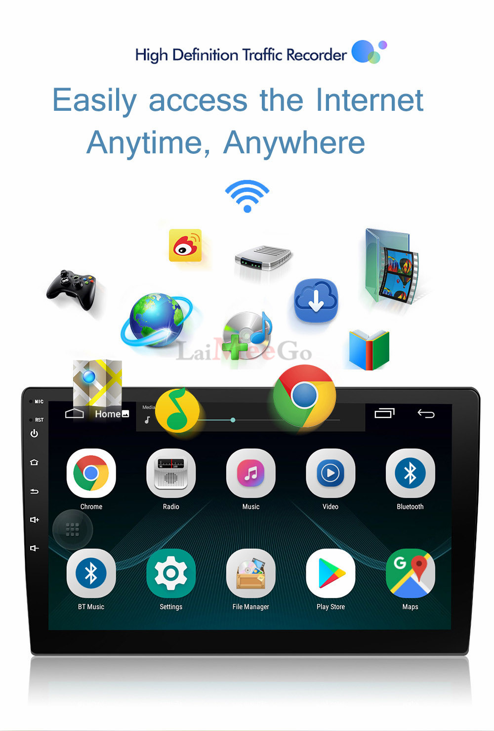 2din Car radio 9 10.1inch Android system Auto stereo 2.5D Capacitive Screen Bluetooth WIFI GPS Quad Core For Universal Car  (1)