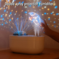 1000ML Air Humidifier Aroma Diffuser Rechargeable With Two Sprayers Projection Night Light Essential Oil Diffusers Steam Maker