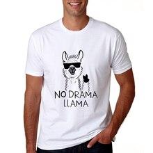 2018 Mens Llama Tshirt Short Sleeve Casual Men Llama T-shirt Summer Cool No Drama Llama T Shirts Cartoon Llama Tops Tees