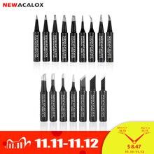NEWACALOX 16pcs/lot Lead free Soldering Iron Tips Black Metal Welding Tips 900M for Hakko Rework Soldering Station Tool Kits
