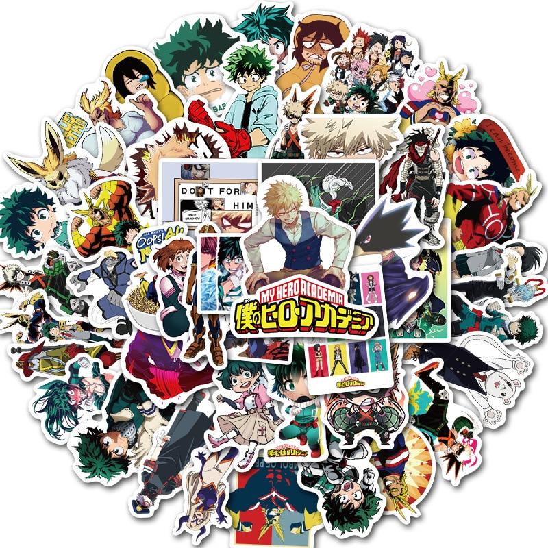50Pcs My Hero Academia Japan Anime Stickers for Laptop Skateboard Izuku Midoriya Might