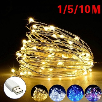 1M 5M 10M LED String Fairy Lights USB Copper Wire Wedding Festival Christmas Party Decoration Waterproof Outdoor Lighting