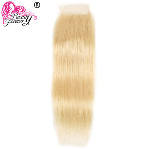 Image 4 - Schönheit Für Immer Blonde #613 Brasilianische Gerade Menschliches Haar Verschluss 4*4 Freies Teil Remy menschliches haar Schweizer Spitze verschluss
