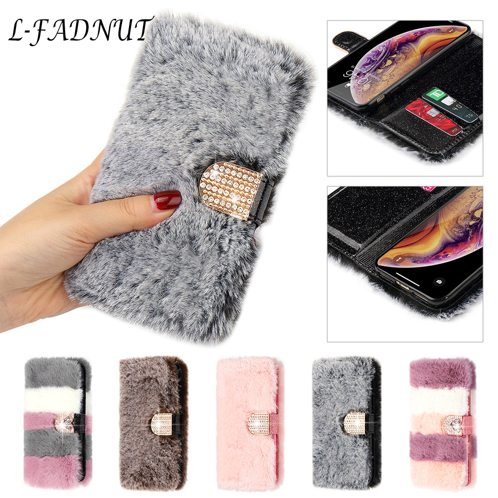 L-FADNUT Luxury Cute Fur Fluffy Wallet Phone Case For iPhone 11 Pro Max Xr X Xs 6 6S Plus 7 8 5 5S SE 2020 Soft Leather Cover