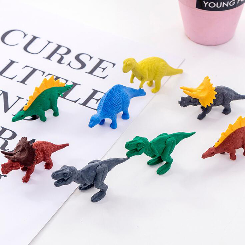4 Pcs Cute Erasers Cartoon Kindergarten Toy Creative Dinosaur Eraser Funny Pencil Erasers Korean Stationery School Supplies