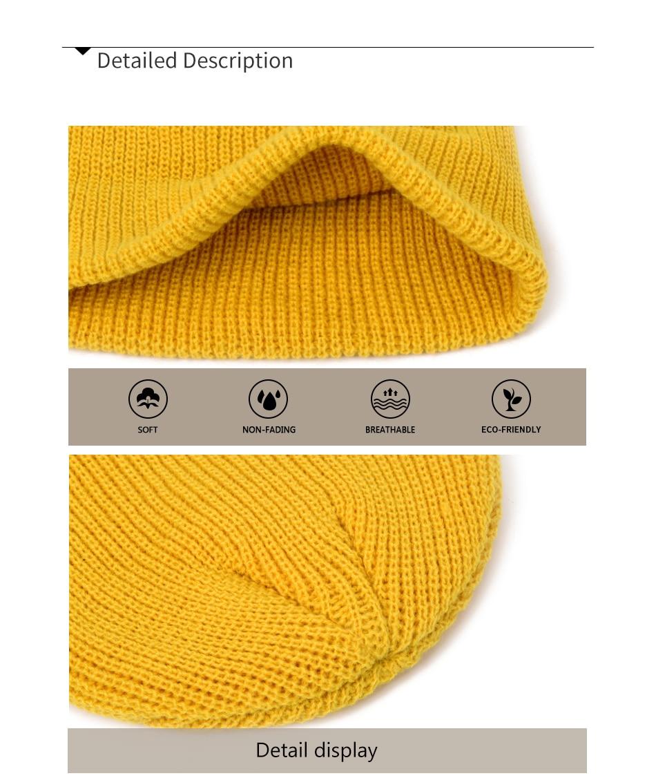 2019 Fashion Unisex Winter Hat Men Cuffed Cib Knit Hat Short Melon Ski Beanies Autumn Winter Solid Color Casual Beanie Hat 16