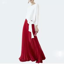 Moda wysokiej jakości jesień nowa strona biuro białe nieregularne koszule czerwona luźna plisowana pół spódniczka Vintage eleganckie eleganckie damskie zestawy tanie tanio DIDACHARM 108-3 O-neck Pełna Zipper fly Kostek Poliester Pełnej długości Kobiety High Street Swetry Stałe Wstążki