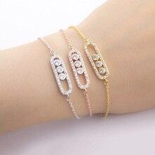Stainless Steel Bracelet Femme Acier Inoxydable Charms 1& 3 Bead Geometric Gold Bracelets For Women Hand Bracelet Jewelry