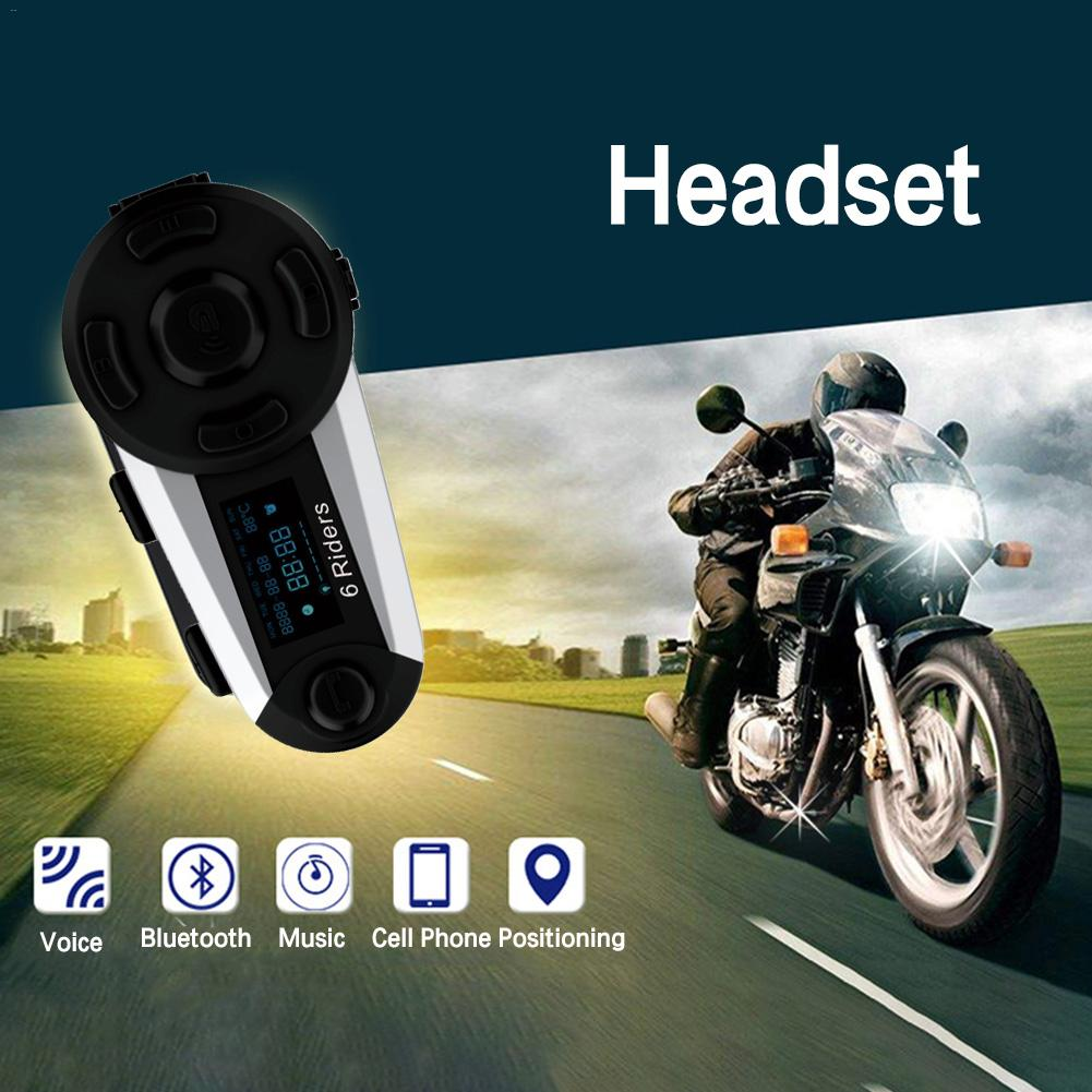 Motorcycle Helmet Wireless Bluetooth Intercom Support 6 Riders Duplex Headset 1200M FM Waterproof Interphone Noise Eliminate
