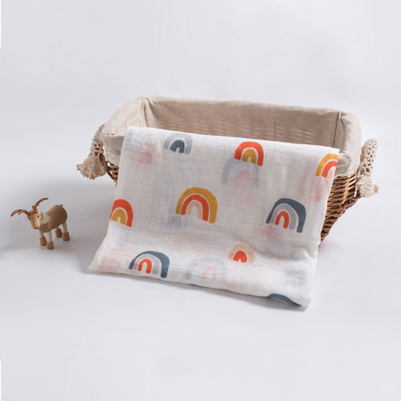 Soft Bamboo Cotton Blanket For Baby Stroller Use Baby Swaddle Wrap Cartoon Baby Blanket 120*120cm