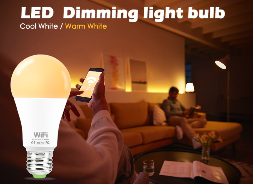 Dimmable 15W E27 WiFi Smart Light Bulb LED Lamp App Operate Alexa Google Assistant Voice Control Wake up Smart Lamp Night Light