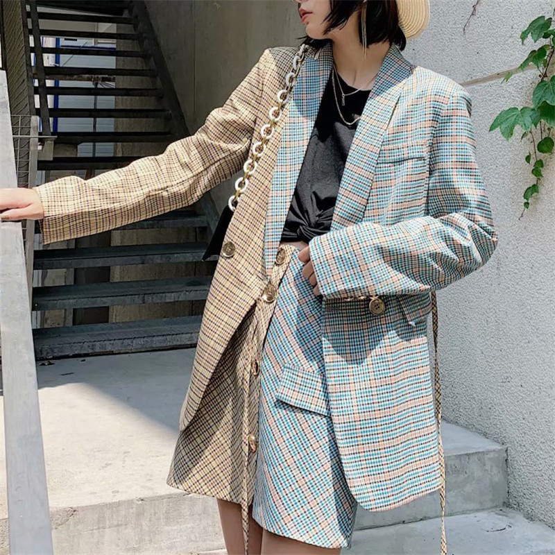 Vogue Stylish Lacing Plaid Patchwork Office Lady Blazers Coat Women 2019 Autumn Notched Collar Long Sleeve Outerwear Chaqueta