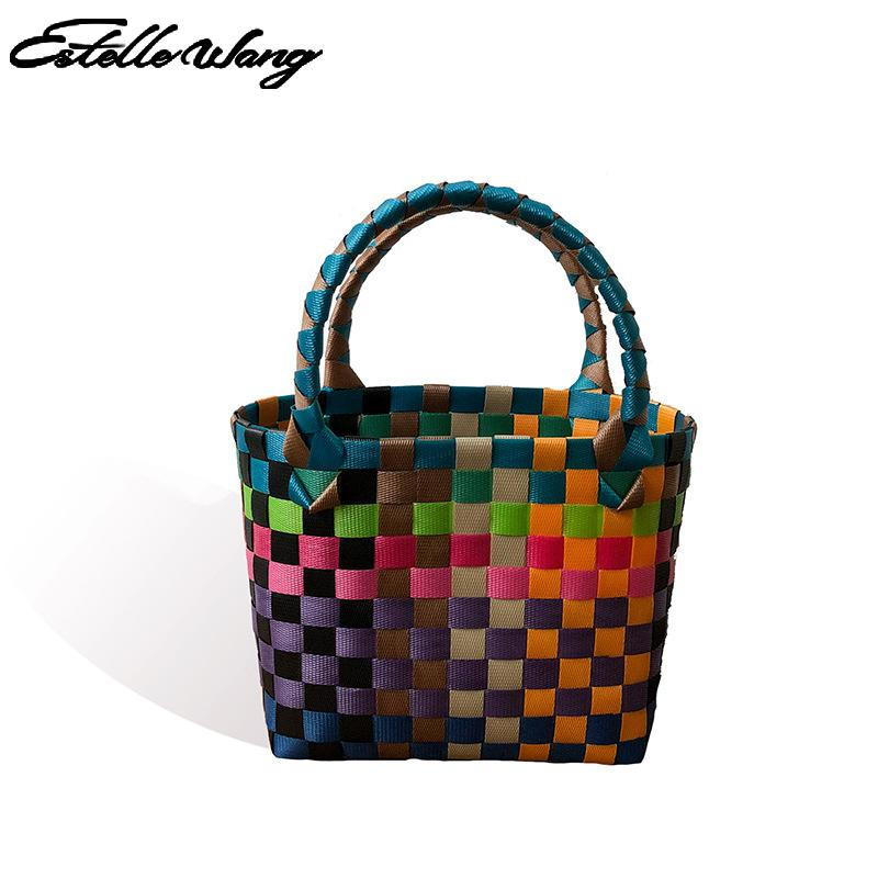 2020 New Small Square Bag For Women And Girls Colorful Mini Woven Vegetable Basket Straw Woven Bag Manual Plastic Woven Bag