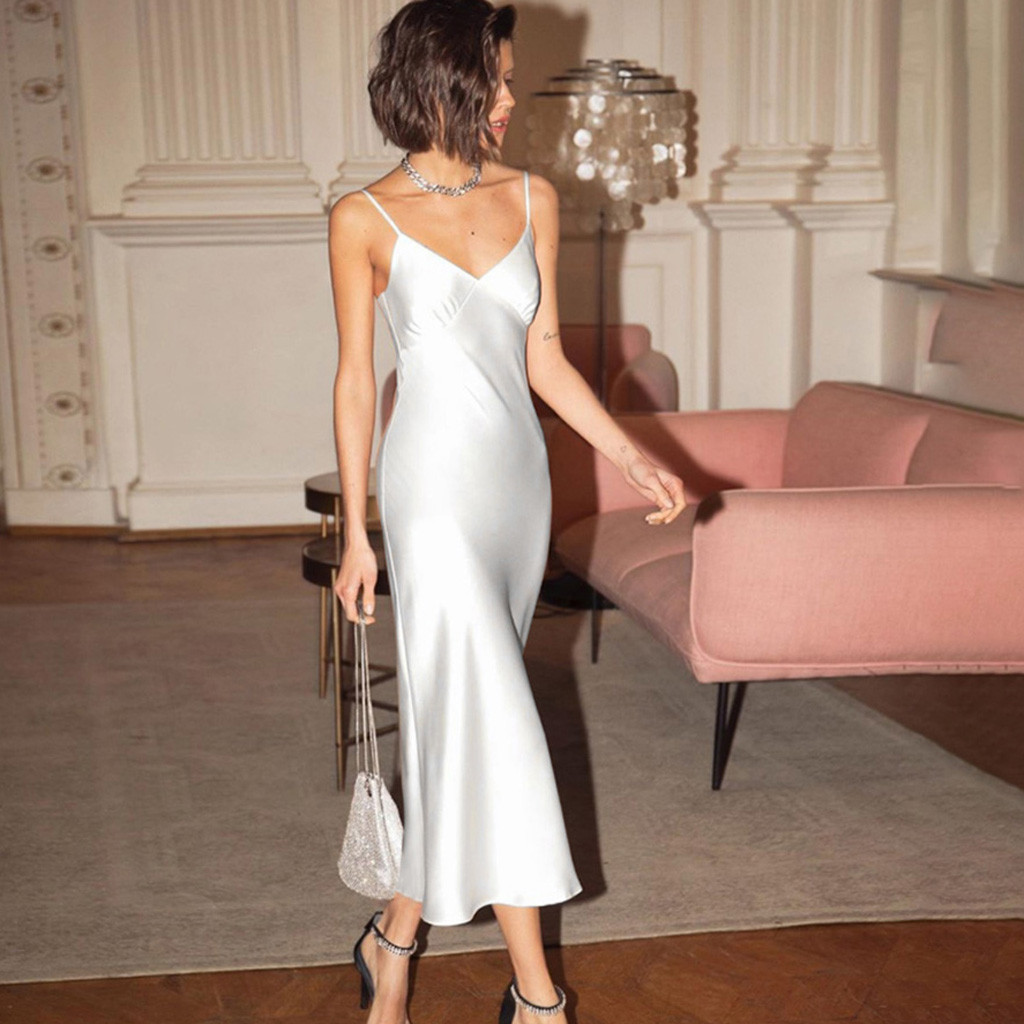 summer sexy dress Stylish Women V Neck Casual Sleeveless Spaghetti Strap Solid Ladies Slim Long Dresses
