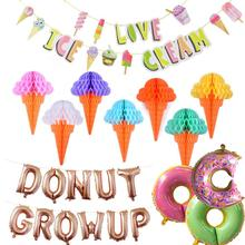 12pcs Donut Growup Themed Party Decorations Ice Cream Doughnut Foil Latex Balloons Baby Shower Kids Birthday Decor Supplies