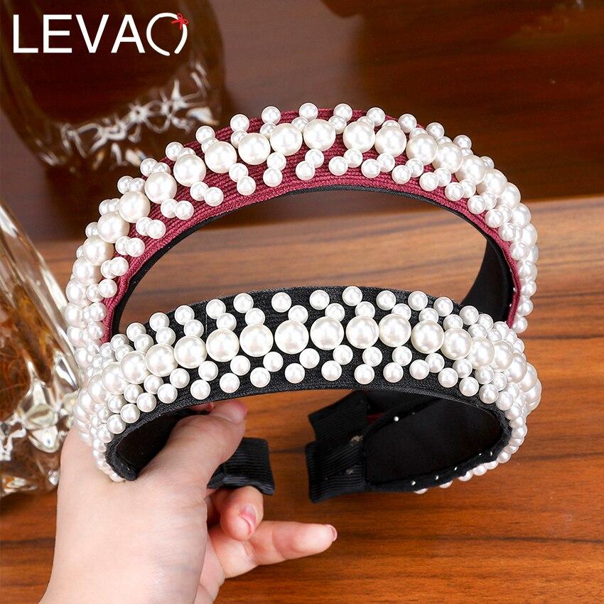Levao Big Pearl Headband for Women Elegant White Pearl Wedding Party Hair Accessories Bridal   Headwear   Hairband Head Hoop