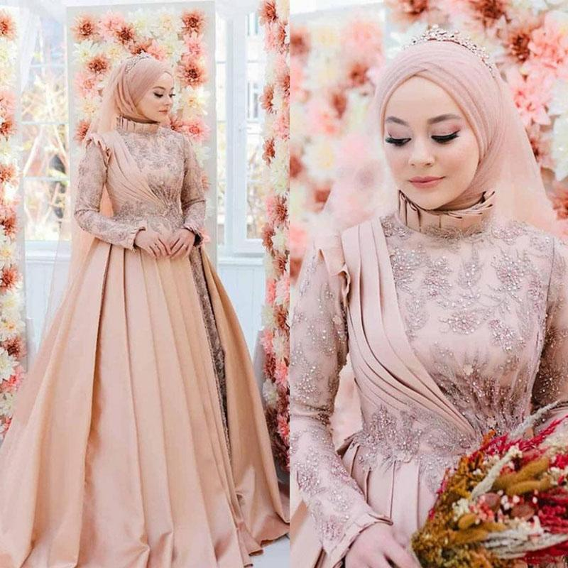 2020 Muslim Wedding Dresses Lace Appliques Beaded High Collar Ruched A Line vestidos de novia Luxury Bridal Gowns with Hijab