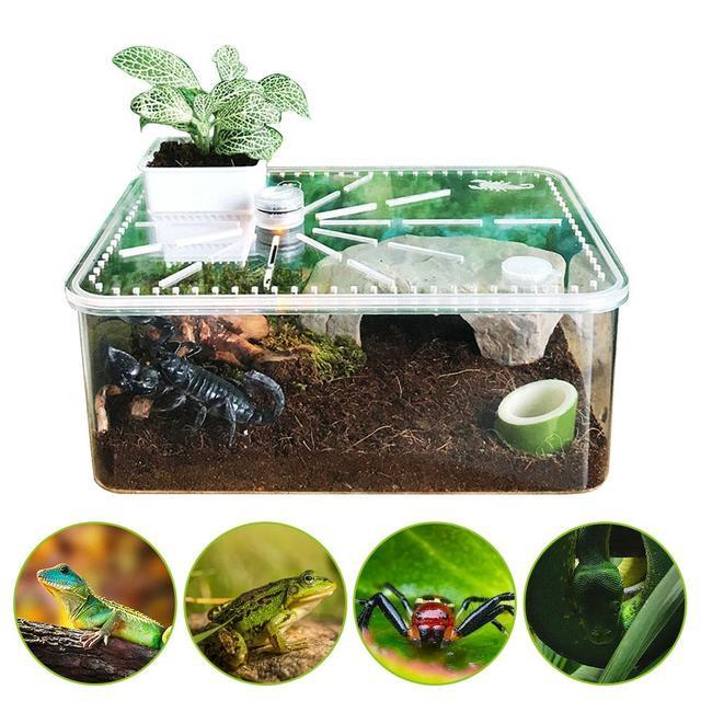 Reptile Breeding Box - Safe - Breathable Acrylic Feeding Tank For Breeding Spiders - Geckos - Frogs - Small Snakes 29cm*22cm*12cm 1