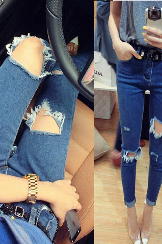 Korean-style 2019 Spring And Autumn Knee Large With Holes Jeans Women's Tight-Fit BF Skinny Pants Pencil Trousers Beggar Pants F