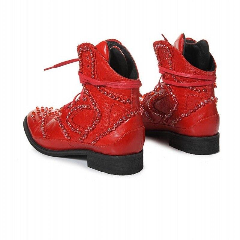 Hiver britannique bottes hommes Designer cristal perlé Vintage bottines pointues en cuir véritable Punk chaussures noir haut baskets - 6