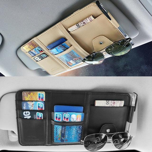 pare-soleil de voiture Sac de rangement de pare-soleil de voiture, organisateur universel de voiture, boîte de rangement en cuir Pu pour cartes, billet, rangement de clés 2