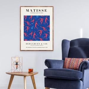 Анри Матисс Абстрактная живопись печать красный синий вырезы коллаж фигурки художественные работы Ретро плакат крафт-бумага