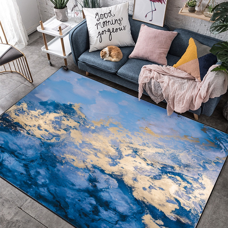 Fashion Abstract Watercolor Blue Gold Sea Water Carpet Living Room Carpet Bedroom Anti Slip Large Area Rug Floor Mat Kids Tapete Carpet Aliexpress