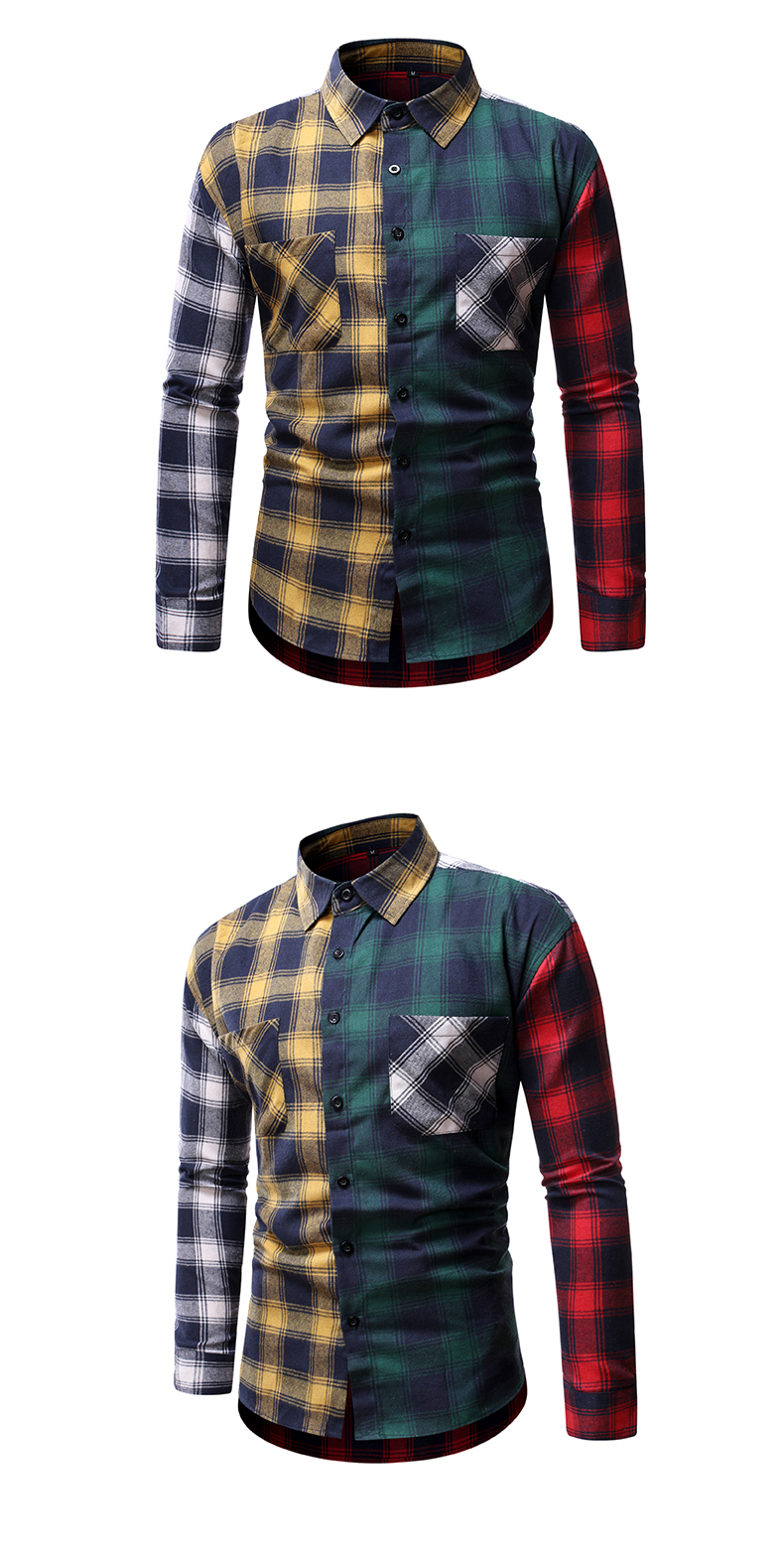 camisa da xadrez da primavera do outono