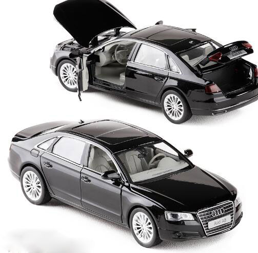 High simulation 1:32 AUDI A8 Alloy Car Model Metal Toy Vehicles With Pull Back Flashing Musical For Kids Toys image