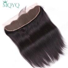 MQYQ волосы с ушками на ухо, кружевное фронтальное Закрытие 13X4, свободная часть с детскими волосами, бразильские прямые человеческие волосы, не реми волосы