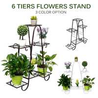 6 Layers Retro Iron Flower Stand Plants Pot Trays Bonsai Planter Display Shelves Balcony Home Garden Decoration 77x25x83cm