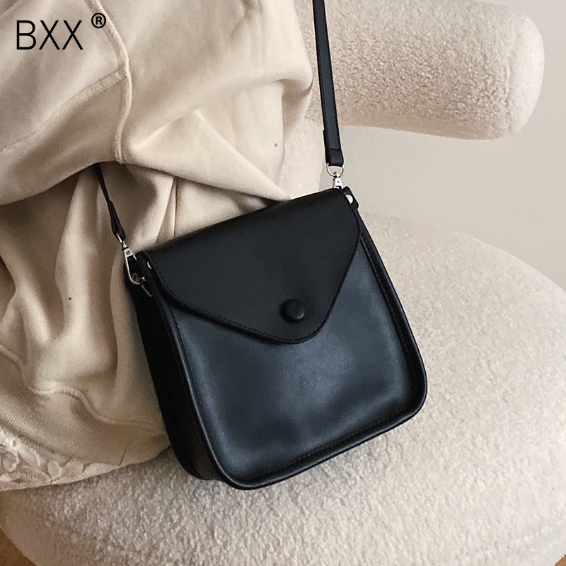[BXX] Women Solid Color PU Leather Crossbody Bags For Women 2020 Spring Simple Female Shoulder Messenger Bag Lady Handbags HK477
