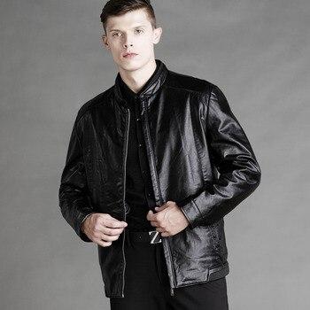 2019 Winter Woolen Lining Leather Jacket MenSoft Woolen Lining Business PU Leather Jacket Men 2 Colors J9516-48878-E 1
