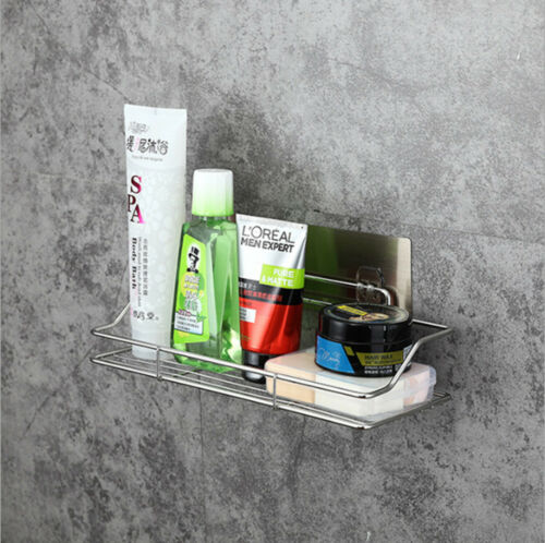 New Durable Stainless Steel Shelf Basket Bathroom Wall Mounted Storage Rack Adhesive Caddy Rack Tidy Organise Pakistan
