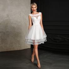 Новое Короткое свадебное платье sccop с аппликацией ТРАПЕЦИЕВИДНОЕ