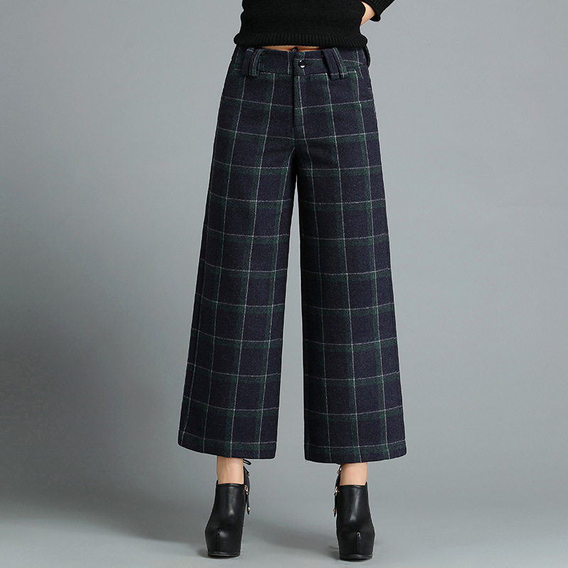 2017 New Style Woolen Lattice Loose   Pants   WOMEN'S Dress   Capri   Large Size Casual Wide Leg   Pants   Slimming a Generation of Fat 8214